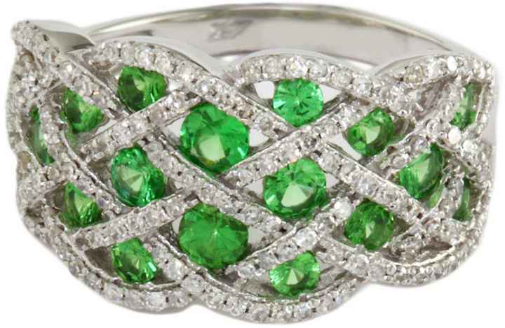 EFFY COLLECTION Tsavorite and Diamond Ring in 14 Kt. White Gold