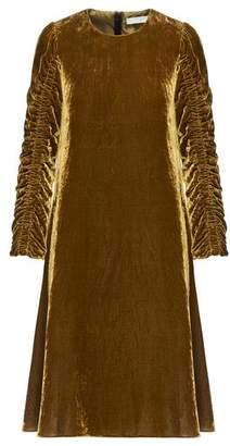 Beatrice. B Velvet Ruched Dress - Gold / IT 44 - UK 12