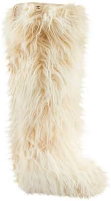 Chanel Ecru Mongolian Lamb Boots