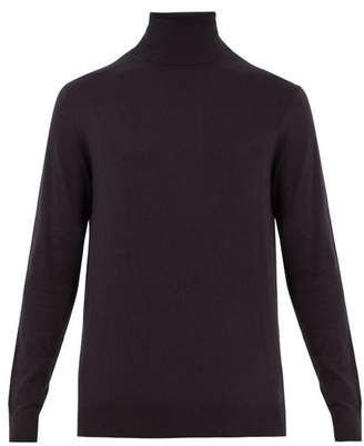 Raey Roll Neck Cotton Knit Sweater - Mens - Navy