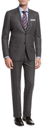Kiton Windowpane Tic Wool Two-Piece Suit, Gray