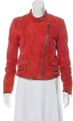 Barbara Bui Suede Moto Jacket Orange Suede Moto Jacket
