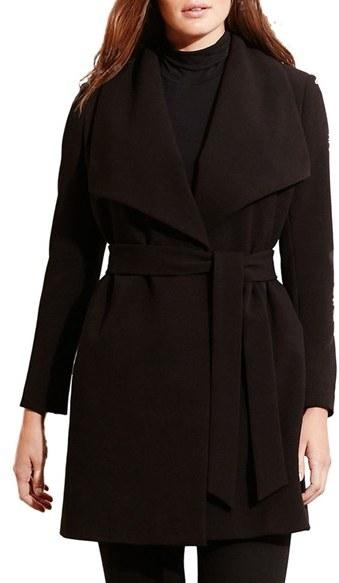 Lauren Ralph LaurenPlus Size Women's Lauren Ralph Lauren Belted Drape Front Coat