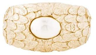 Chanel Faux Pearl Feather Cuff Gold Faux Pearl Feather Cuff