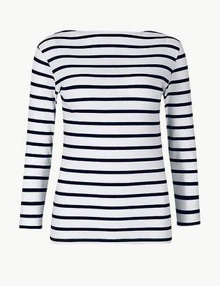 Marks and Spencer Cotton Rich Striped 3/4 Sleeve T-Shirt