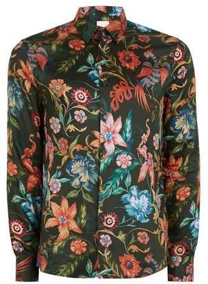 Topman Mens Dark Green Floral Long Sleeve Shirt