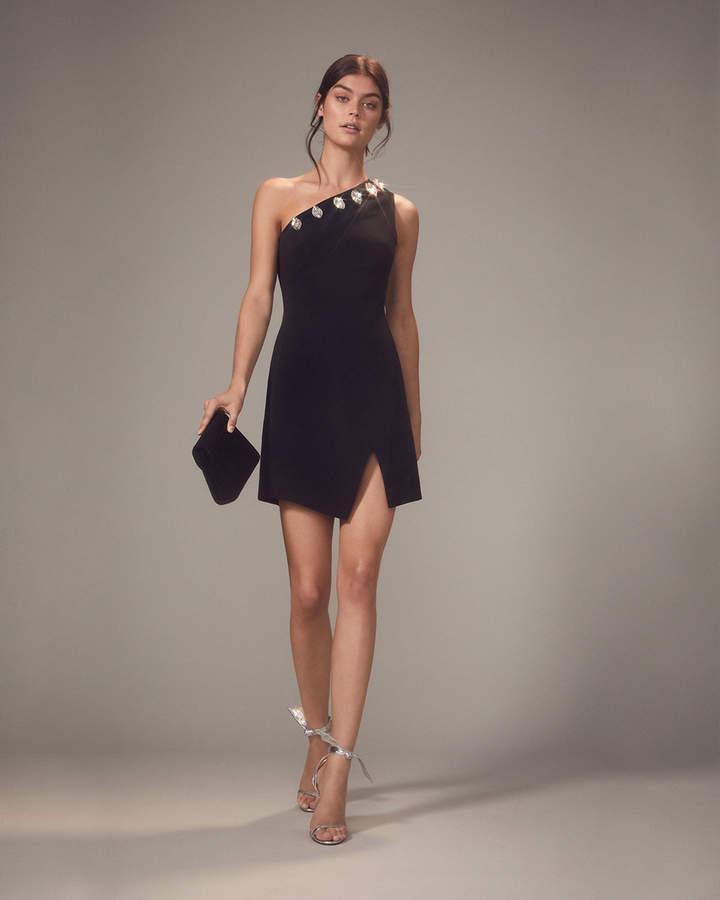 Crystal-Embellished One Shoulder Mini Dress