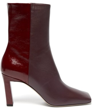 Wandler Isa Two Tone Square Toe Leather Boots - Womens - Burgundy