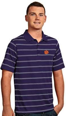 Antigua Men's Clemson Tigers Deluxe Striped Desert Dry Xtra-Lite Performance Polo