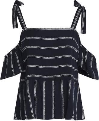 Splendid Cold-shoulder Striped Twill Peplum Top