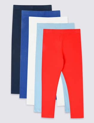 Marks and Spencer 5 Pack Cotton Rich Leggings with Stretch (3 Months - 7 Years)