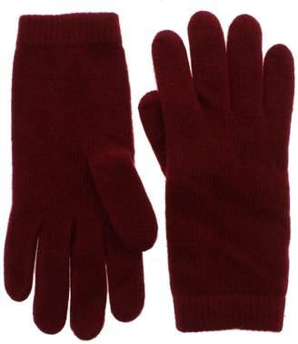 Portolano Womens 100% Cashmere Classic Winter Gloves Red O/S