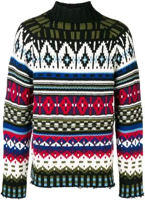 MSGM raw edge intarsia knit jumper