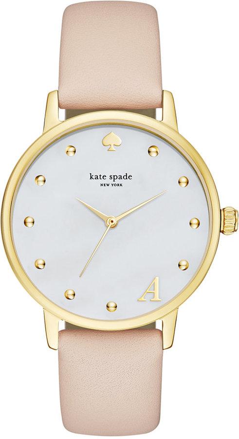 Kate Spadekate spade new york Women's Monogram Metro Vachetta Leather Strap Watch 34mm KSW1098