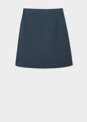 Paul Smith Women's Navy Houndstooth Pattern Cotton Skirt