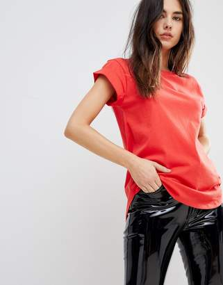 Asos T-Shirt in Boyfriend Fit with Rolled Sleeve and Curved Hem