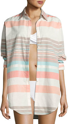 Letarte Stripe Button-Down Beach Shirt, Multicolor $198 thestylecure.com