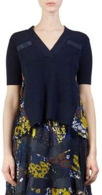 Sacai Wool Knit Floral Pullover Top