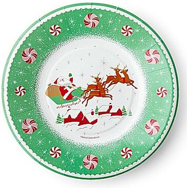 JCPenney MarthaCelebrationsTM Round Paper Cocktail Plates – Christmas