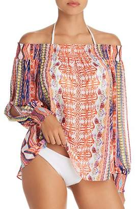 Ramy Brook Augustine Printed Off-the-Shoulder Swim Cover-Up