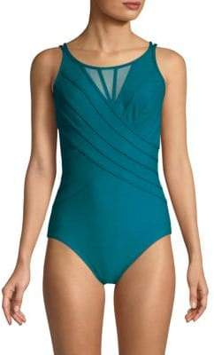 One-Piece Mesh-Paneled Swimsuit