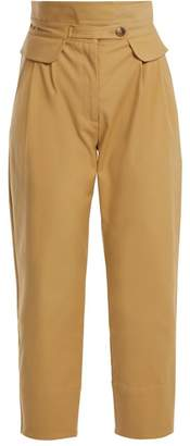 Sea Kamille High Rise Cotton Blend Trousers - Womens - Beige