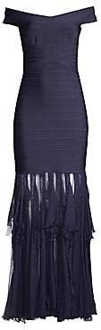 Herve Leger Women's Off-The-Shoulder Bandage Ruffle Gown