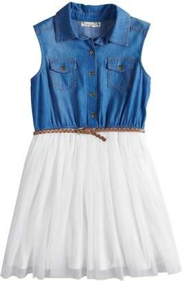 Knitworks Girls 7-16 & Plus Size Sleeveless Denim Bodice Belted Dress