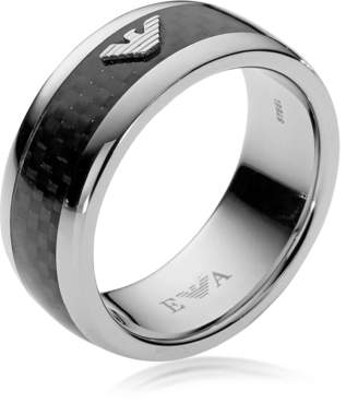 Emporio Armani Iconic Carbon Fiber and Stainless Steel Men's Ring