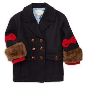 Gucci Little Girl's& Girl's Wool& Faux Fur Coat