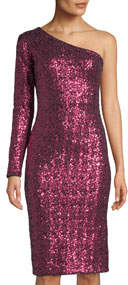 Chrissie One-Sleeve Sequin Bodycon Cocktail Dress