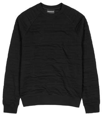 Emporio Armani Black Logo-padded Jersey Sweatshirt