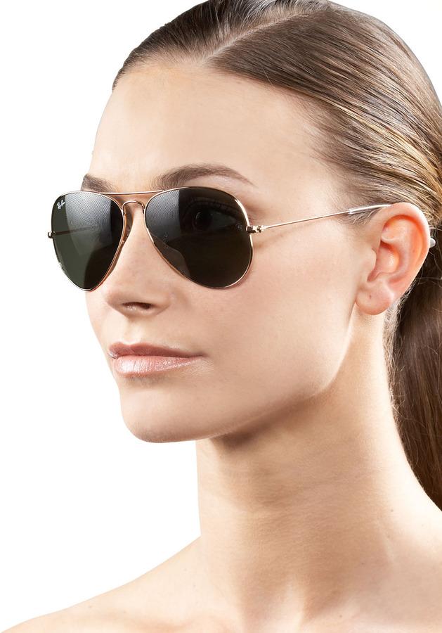 Ray-Ban Classic Aviator Sunglasses, Gold/Green