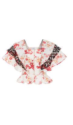 Jill Stuart Renee Cotton Poplin Floral Blouse