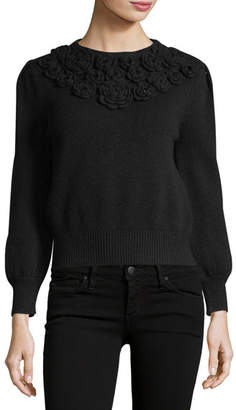 Co Floral-Embroidered Crewneck Sweater