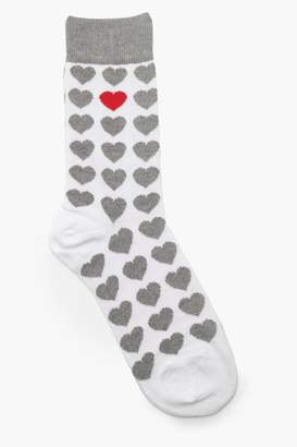 boohoo Heart Print Ankle Sock