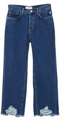 MANGO Frayed finish flare jeans