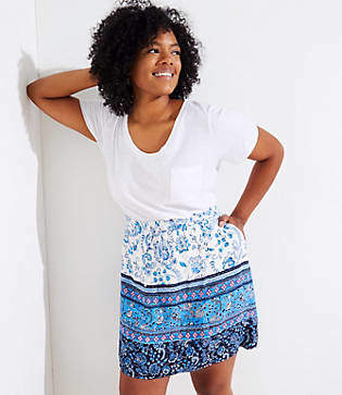 LOFT Plus Border Floral Pocket Drawstring Skirt