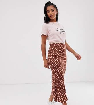 Asos DESIGN Petite jersey midi slip skirt in scribble polka dot