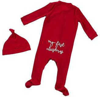 Pottery Barn Kids My First Christmas Nursery Hat & Onesie Set, Red , 0-3 Months