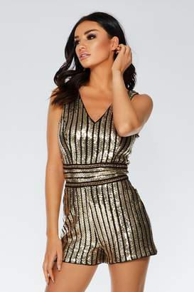 ef67d7ad1042 Quiz TOWIE Black and Gold Sequin Stripe Playsuit