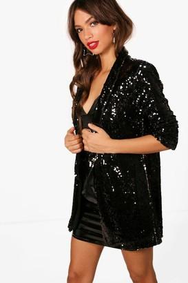 boohoo Sequin Tailored Blazer