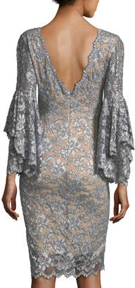 Jovani Deep V-Neck Trumpet-Sleeve Lace Applique Dress
