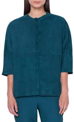 Akris 1/2-Sleeve Nubuck-Suede Kimono Blouse