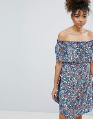 Esprit Paisley Print Off Shoulder Beach Dress