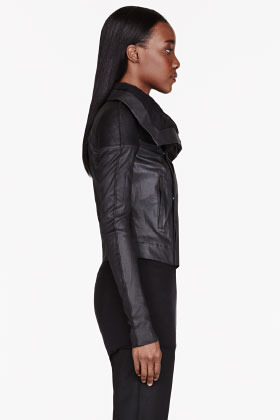 Rick Owens Black leather-trimmed Robot Neoblister jacket