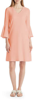 Lafayette 148 New York Holly Ruffle-Cuff Crepe Shift Dress