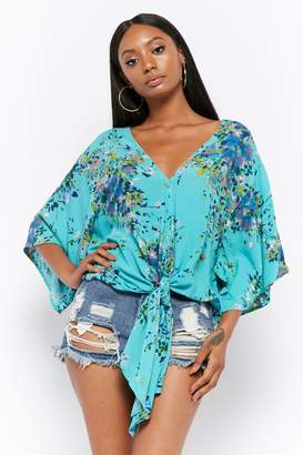Forever 21 Floral Tie-Front Top