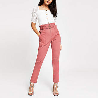 River Island Pink paperbag utility jeans