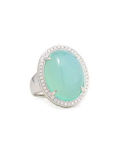 Rina Limor Fine Jewelry Oval Aqua Chalcedony Cabochon Ring with Diamonds, Size 6.5